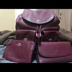 Coach backpack wallet and wristlet